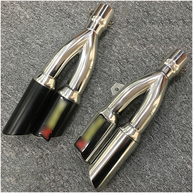 Universal 38-51 mm Dual-outlet Exhaust Muffler Pipe Black Silver Motorcycle Tail Escape Slip On Exhaust System Modified 390 mm