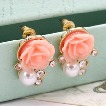 2016 Top Fashion Jewlery Crystal Stud Earrings Gold Plated Simulated Pearl Rose Flower Earring For Woman