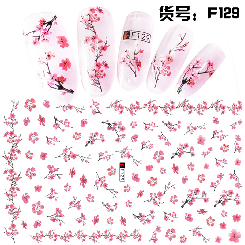 1 Sheet Pink Plum/Garden Flowers/Dande 3D Embossed Nail Sticker Flower Adhesive DIY Manicure Slider Nail Art Tips