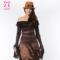 Brown Steel Boned Underbust Corset Waist Trainer Zipper Corsets And Bustiers Steampunk Korsett For Women Sexy Gothic Clothing