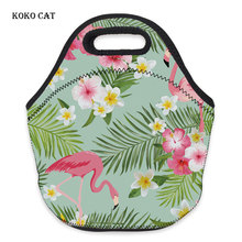 Flamingo Printed Insulated Lunch Bag Waterproof Neoprene Food Box for Women Keep Warm Dinner Folding Handbag School Package