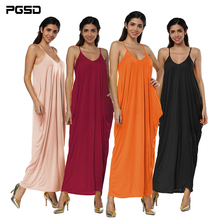 PGSD Simple Pure color Sexy Backless Irregular Long Dresses Women Summer Deep V Neck Low-cut Beach Sundress Party Sling Dress