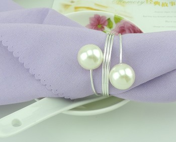 Wholesale 50pcs/lot  pearl silver napkin ring napkin buckle metal napkin holder for wedding party table decoration