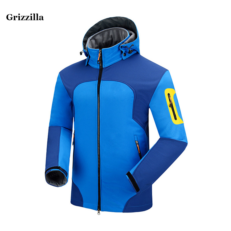 Grizzilla Outdoor Soft shell Jacket Men Hiking Jackets Waterproof Windproof Thermal Jacket For Hiking Camping Thick Warm Coat