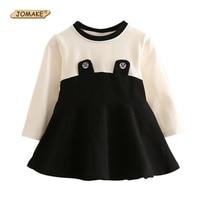 Classic Black White Patchwork Girls Dress Casual Kids Long Sleeve O Neck Dress New Spring Children