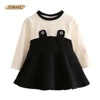 Classic negro blanco patchwork Niñas vestido casual niños manga larga o-cuello vestido nueva primavera niños ropa infantil Niñas ropa