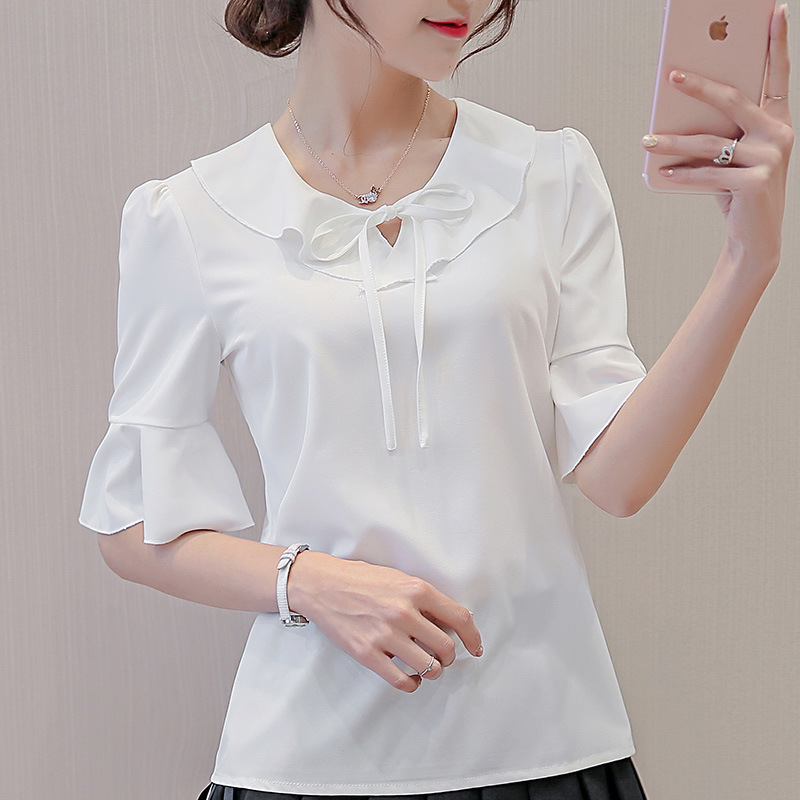2018 Women Summer OL Office Chiffon Short Sleeve Shirt Tops Blouse Brand New Blouses Office Ladies Work Wear Slim Tops