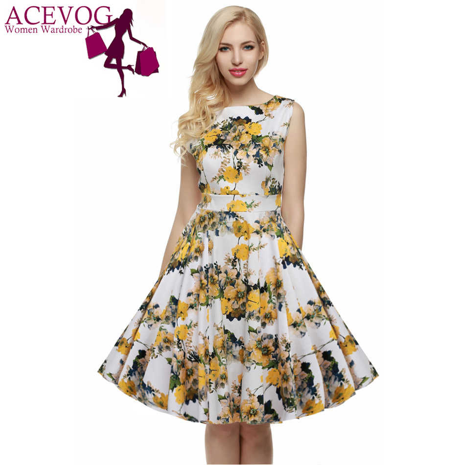 e80212b34297 ACEVOG Women Casual Elegant Dress Sleeveless Floral Retro Vintage 1950s 60s  Swing Summer Dresses Elegant Tunic