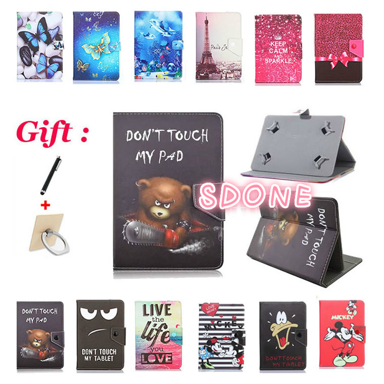 Universal 7inch Printed Case For Alcatel ONETOUCH Pixi 4 7.0/Pixi 3 7.0 7 Inch Tablet Stand Protective Cartoon Case + 2 Gifts