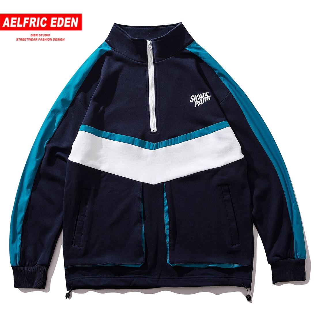 Aelfric Eden Color Block Patchwork Pockets Stand Pullover Men 2019 Harajuku Hip Hop Casual Cotton Fashion Sweatshirts Streetwear