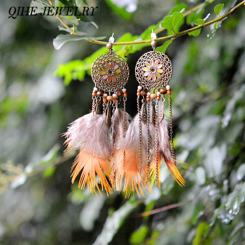 QIHE JEWELRY Antique Bronze Feather Tassel Earrings Feather Charm Dangle Jewelry Ethnic Tribal Hippie Chic Style