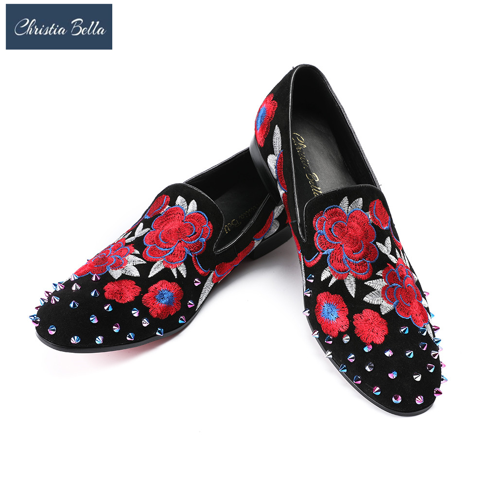 Christia Bella Rivet Velvet Slippers Men Loafers Embroidery Floral Moccasins Gentlemen Slip On Flats Men's Dress Formal Shoes italians gentlemen пиджак