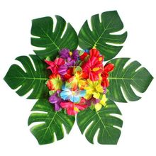 12Pcs Artificial Tropical Palm Leaves for Hawaiian Party Luau Party Decorations Home garden decoration Flamingo Party Supplies summer tropical luau party banner bunting garlands hawaiian beach theme birthday party diy decoration flamingo party palm leaves