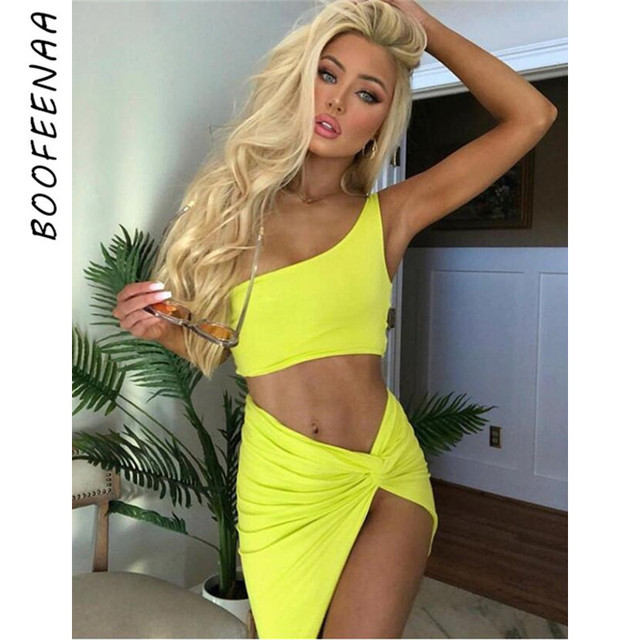 6dfd5a6caa5 BOOFEENAA Neon One Shoulder Knotted Slit Sexy Two Piece Set Crop Top And  Skirt Club Outfits