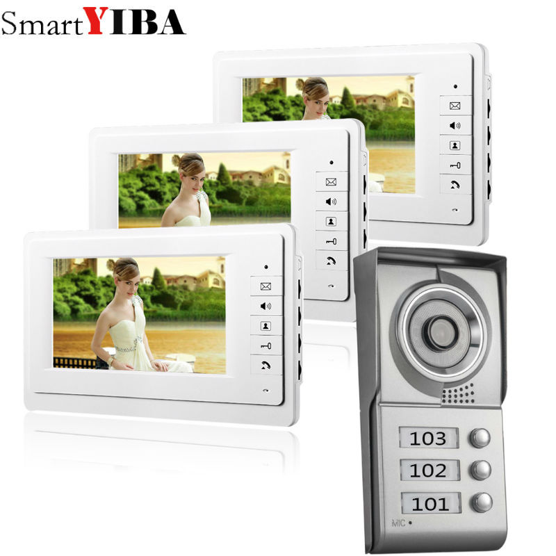 SmartYIBA 7 Video Intercom Apartment Door Phone System 3 White Monitors 1 HD Camera for 3 Household 3 Unit Apartment Intercom