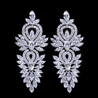 Marquise Cut Cubic Zirconia Long Dropping Beautiful Bridal Earrings For Wedding Costume Jewelry Accessories