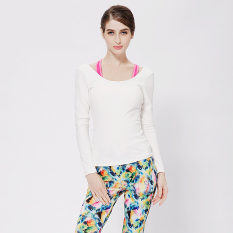 ФОТО 2 colors 4 sizes full-sleeve solid shirt+vest+printed trousers quick dry breathable cotton 3 pcs set dance fitness yoga set