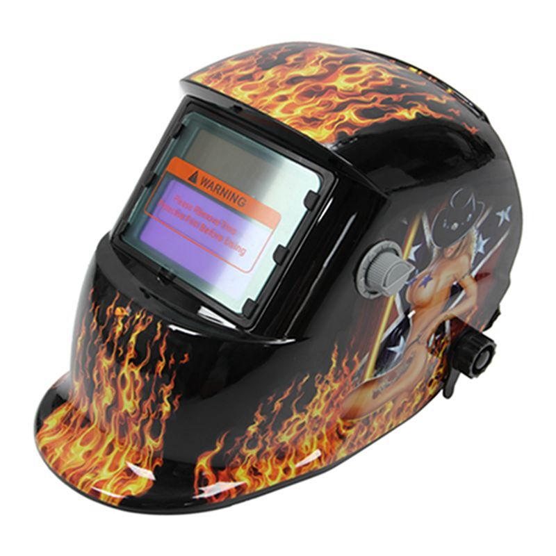 Welding Helmet Solar Auto Darkening MIG TIG ARC Welder Mask Flame And Girl GS8D solar powered auto darkening welding helmet adjustable shade range 4 9 13 for mig tig arc welder mask diversify design