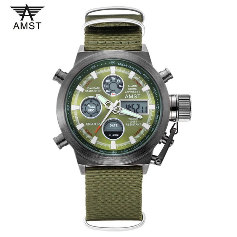 AMST Brand Men Nylon Strap Sport Quartz Watch Led Digital Dual Time Zones Waterproof Army Military Wristwatches With Gift Box amst brand men stainless steel business quartz watch date casual waterproof fashion military wristwatches with gift box 2016 new