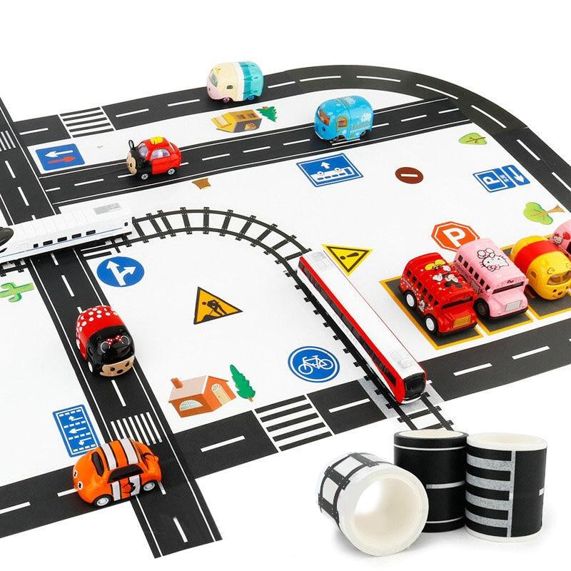Creative Traffic Railway Road Washi Tape Adhesive Tape DIY Scrapbooking Sticker Label Craft Masking Tape For Kids Toys Car Play