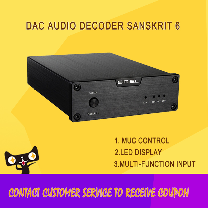 SMSL Latest Sanskrit 6th 32BIT/192Khz Coaxial SPDIF Optical USB DAC Hifi Audio Amplifier Decoder With Power Adapter new smsl sanskrit pro b hifi digital audio bluetooth 4 0 decoder 32bit 384khz dsd usb coaxial optial dac cm6632a ak4490eq