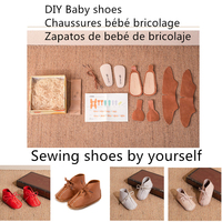 DIY Baby Shoes Cowhide Handmade sewing Girls shoes by Yourself Gift for Newborn shoes First walkers Boys Baby moccasins