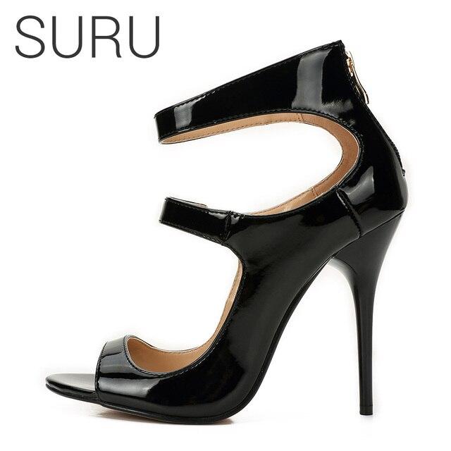 SURU 12cm Stilettos Pumps For Women Shiny Patent Red Black Open Toe Cover  Heel Sandals Heels Ladies Plus Big Large Size 13 Shoes 0eef817c7f72