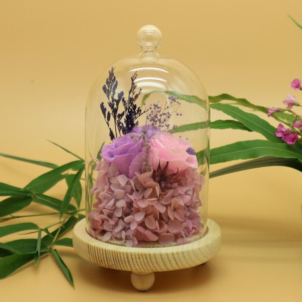 Fleur éternelle conservée hortensia frais immortel en verre Vase Cloche décorations de mariage
