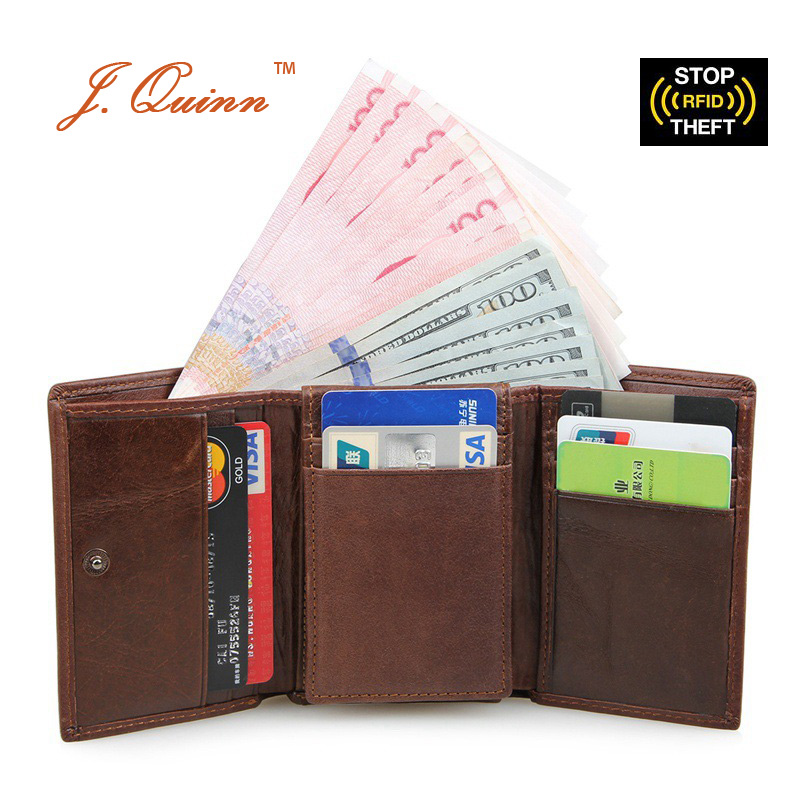 J.Quinn Genuine Leather Trifold RFID Wallet for Women Men with ID Flap Credit Card Dollar Mens Short Wallets Cowhide Woman Purse