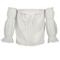 Young17 Women Blouse White Plain Slash Neck Lantern Sleeve Bohomian Lace Up Spring Shirt Hippie Lolita