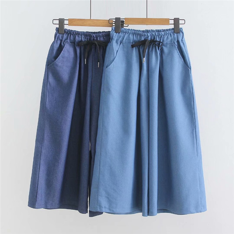 Korean Wide Leg Pants Women Summer Pants Blue Pantacourt Femme Loose High Waist Jeans Pants Women Capris Pants Summer