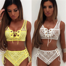 Solid Color Bikinis Women Sexy Lace Up Bandage Bra High Waist Bikini Set Female Sexy Swimsuit Triangle Swimwear Bathing Suit sexy style solid color lace splicing bikini set for women