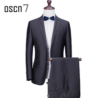 OSCN7 Black Solid 2 Pcs Suit Men Slim Fit Business Formal Wedding Dress Suits for Men Terno Masculino Plus Size Leisure Tuxedo