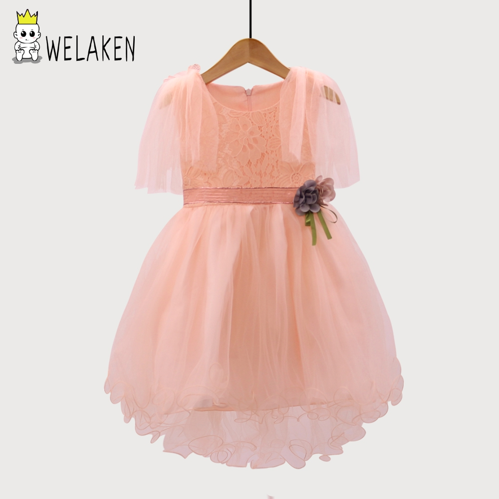 weLaken Girls Dress 2018 New Summer Cute Lace Flower Dress Baby Elegant Princess Party Dress With Sashes For 2-6 Years Old Girls