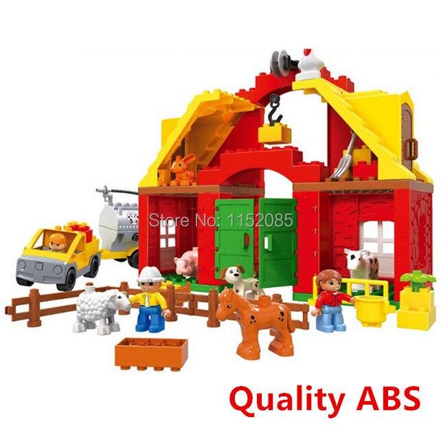 ФОТО 61pcs Large Animals Farm Set Big Building Blocks Funny DIY Toys Educatioinal Toys brinquedos