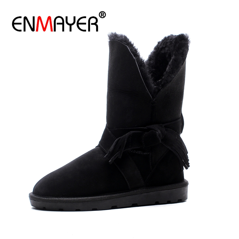 ENMAYER Woman Ankle boots Round Toe Fashion Boots for Women Winter Warm Snow boots Low heels Bowtie Cow Suede Causal shoes CR663