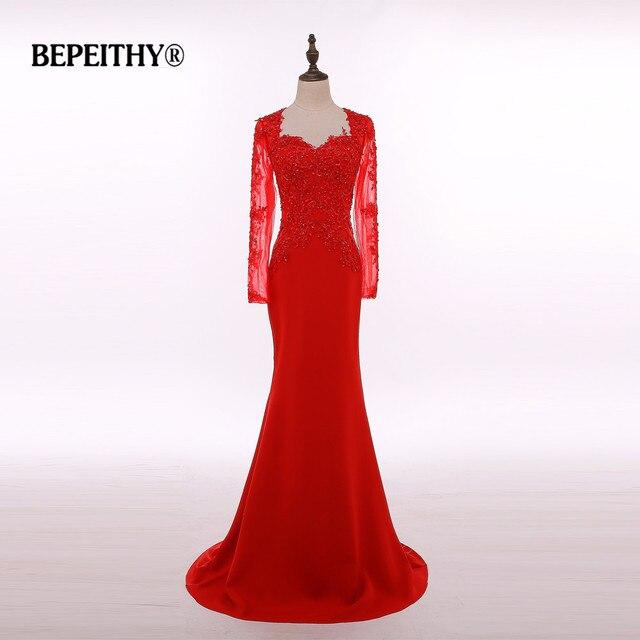 4c2966a9c3 Foto Real Vestido largo De manga larga rojo Vestido largo De noche De fiesta  elegante traje