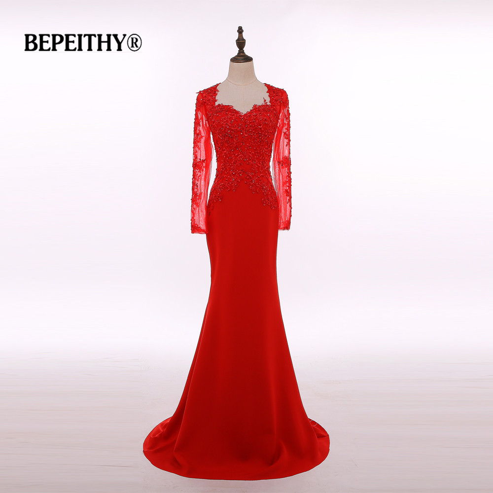 Real Photo Vestido Longo Long Sleeve Red Long Evening Dress Party Elegant Robe De Soiree Cheap Mother Of The Bride Dresses 2020