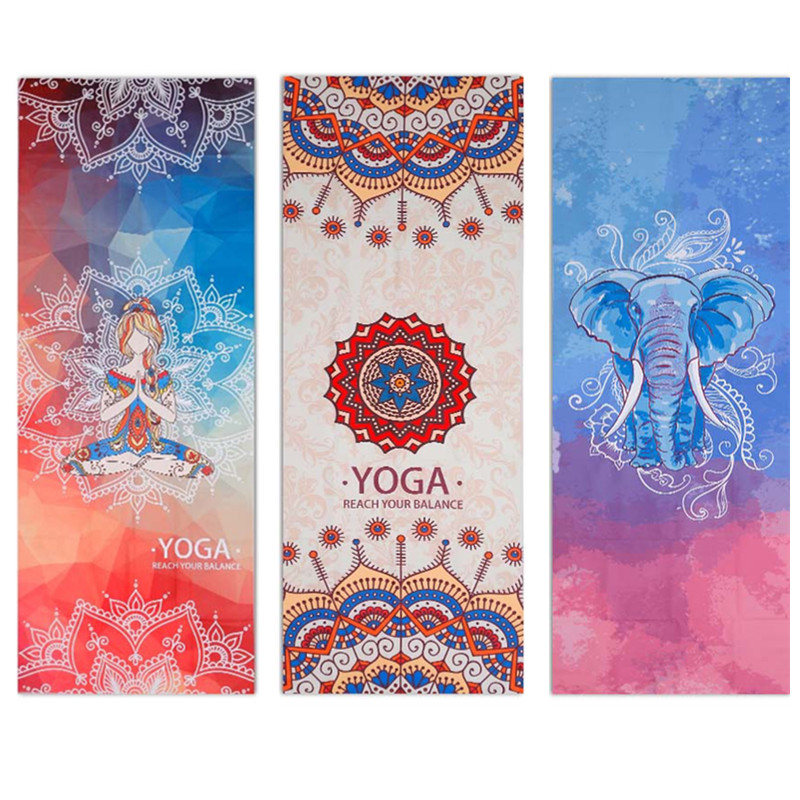 Printed Yoga Towel Microfiber 183*65cm Non Slip Yoga Blanket Absorb Sweat Yoga Mat Cover Towel Pilates Fitness Beach Mat Towel 2018 summer beach mat round mandala towel travel shawl blanket sarong beach cover wrap bandana round summer beach blanket