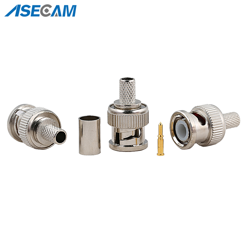 Freeshipping BNC Male Crimp Plug For RG59 Coaxial Cable RG59 BNC Connector BNC Male 3-piece Crimp Connector Plugs