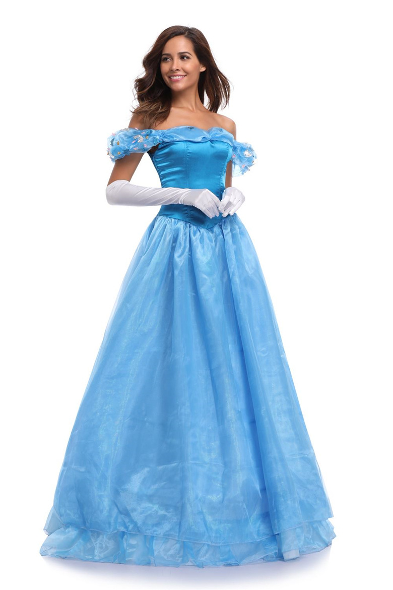 Halloween 4 layers Women Cinderella Dress Princess Fancy Costumes Cindy Stage Ball gown dress Lace up any size