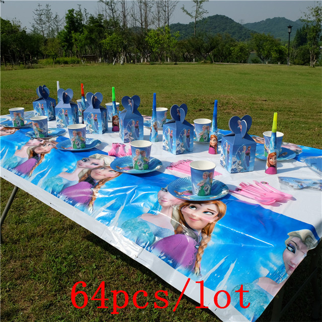 64Pcs Disney Frozen Elsa & Anna Disposable Tableware Sets Family Party Celebration Kids Birthday Party Decoration Event Supply