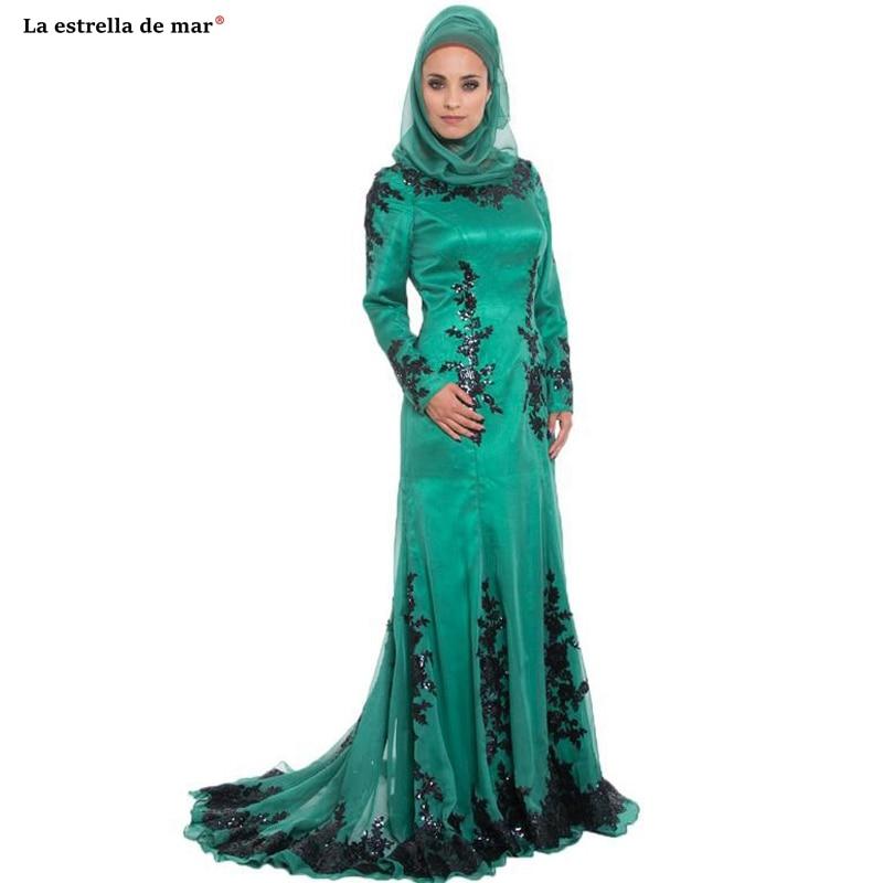 Abiye gece elbisesi2019 new O Neck lace long sleeve turban green champagne sexy mermaid Dubai Muslim   evening     dress   trailing Prom