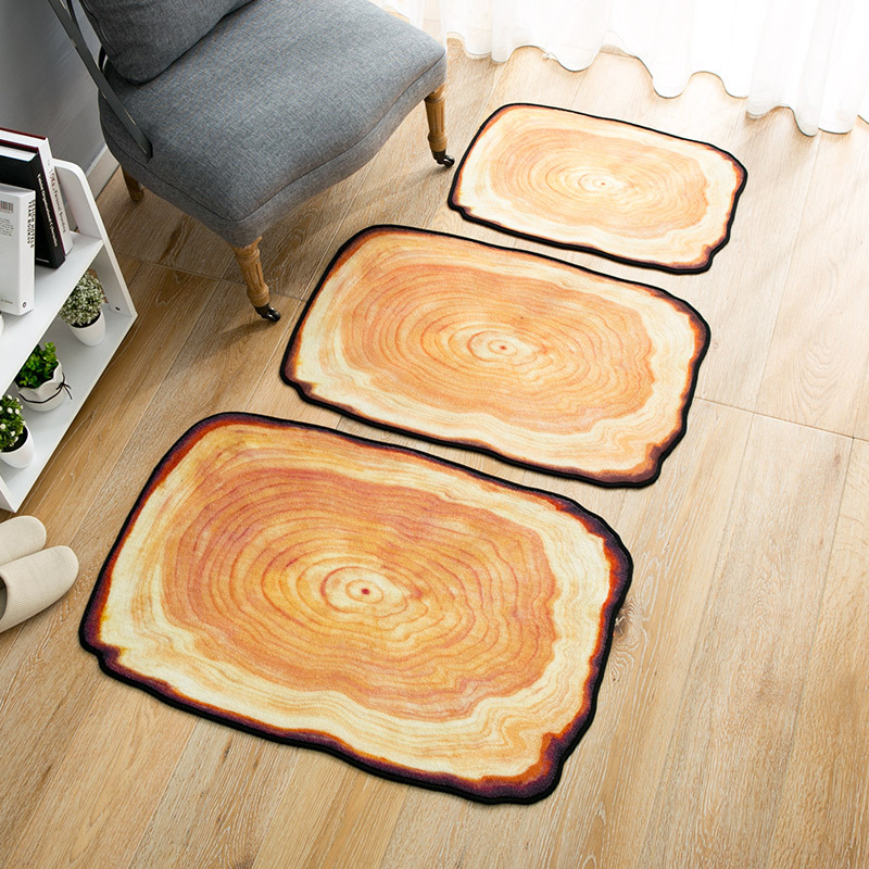Antique Wood Tree Annual Ring Round Carpet Kid Carpets Rugs for Bedroom Bathroom Living Room Wood 3D Mats Kitchen Entrance Mat