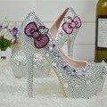 Hello Kitty Горный Хрусталь Для Новобрачных Свадебные Туфли Graudation Партии Пром Высокие Каблуки