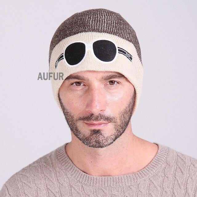 2017 Новая Зимняя Шапка Мужская Шляпа Вязаная Шапка Очки Pattern Оформлен Гибкая Сращены Цвета AU00722