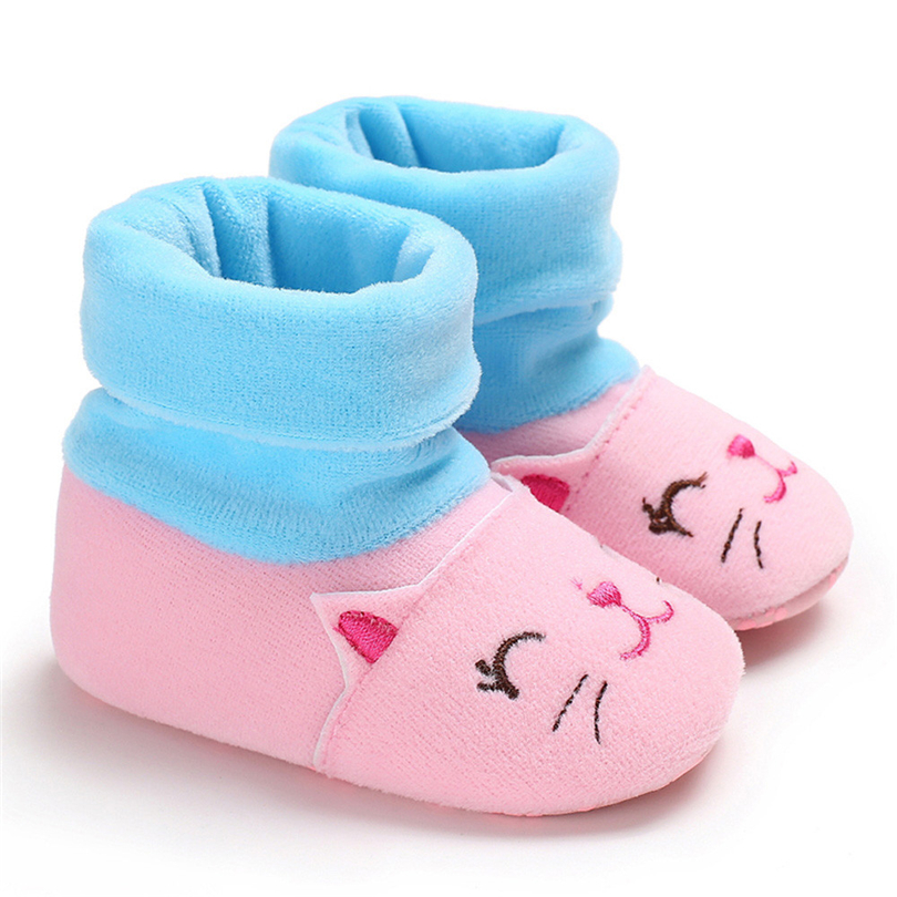 Infant Baby Socks Shoes Boys Girls Cartton Cat Embroidery Winter Boots Newborn Solid Color Stitching Warm Shoes 0-18 Month A20