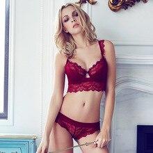 Мода прозрачный сексуальный комплект бюстгальтер плюс размер Женщины марлевые вышивка ультратонкий комплект нижнего белья кружева бюстгальтер и выдалбливают трусики