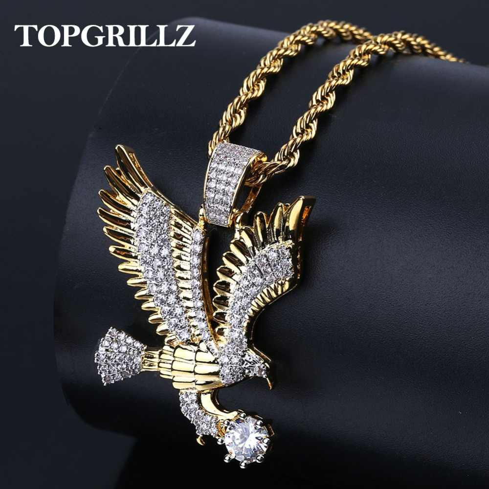 TOPGRILLZ Hip-Hop złoty kolor galwanicznie miedzi Iced Out mikro betonowa CZ Eagle wisiorek naszyjnik mężczyzn urok biżuterii trzy Style łańcuchy