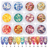1 Set BORN PRETTY Fish Scale Nail Sequins Glitter Rhombus Nail Glitter Sheet 12 Colors Manicure